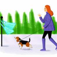 An illustration of a woman and her dog taking a brisk walk to gather up garbage.