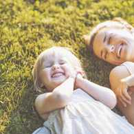 Mother and daughter in the sun, feeling God's love
