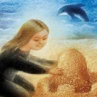 An artist's rendering of a girl on a beach with a dolphin in the background