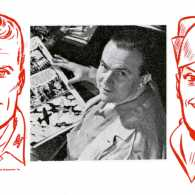 Milton Caniff, with two of his most famous creations, Steve Canyon (left) and Terry