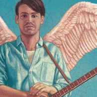An artist's rendering of an angel with a banjo