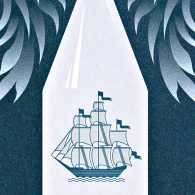 An artist's rendering of an after shave lotion bottle with angel wings.