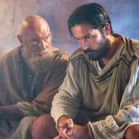 "Jim Caviezel and James Faulkner in ""Paul, Apostle of Christ"""