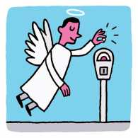 An artist's rendering of an angel inserting coins into a parking meter
