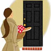 An artist's rendering of a woman arriving at a friend's house with a basket of gifts