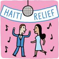 An artist's rendering of students dancing at their prom under a banner reading Haiti Relief
