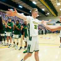 Josh Speidel is introduced on Senior Night; photo by Brian Jenkins