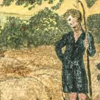 he Shepherd, from 'Songs of Innocence', 1789 (colour-printed relief etching with w/c on paper) by Blake, William (1757-1827); 7.6x7 cm
