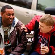 Hangin' Out: Mohamed (left) has a calming effect on Joel.
