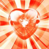 Heart with light radiating from it