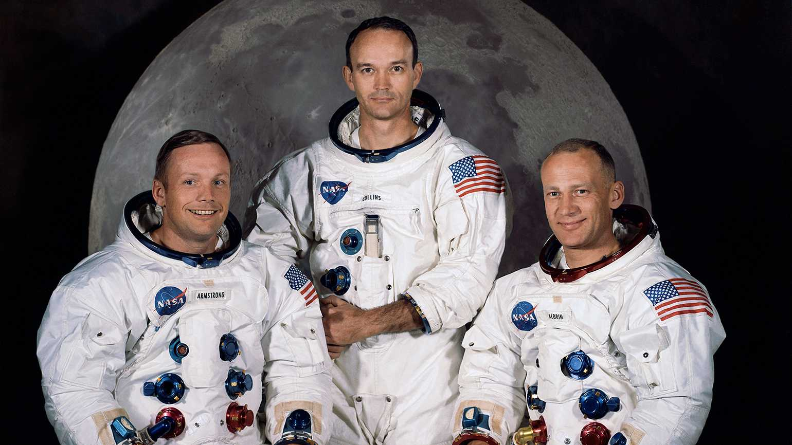 """The Apollo 11 crew (l to r): Neil Armstrong, Michael Collins and Edwin """"Buzz"""" Aldrin"""