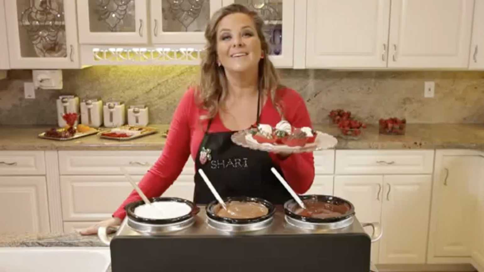 Shari demonstrates dipping techniques for your desserts.