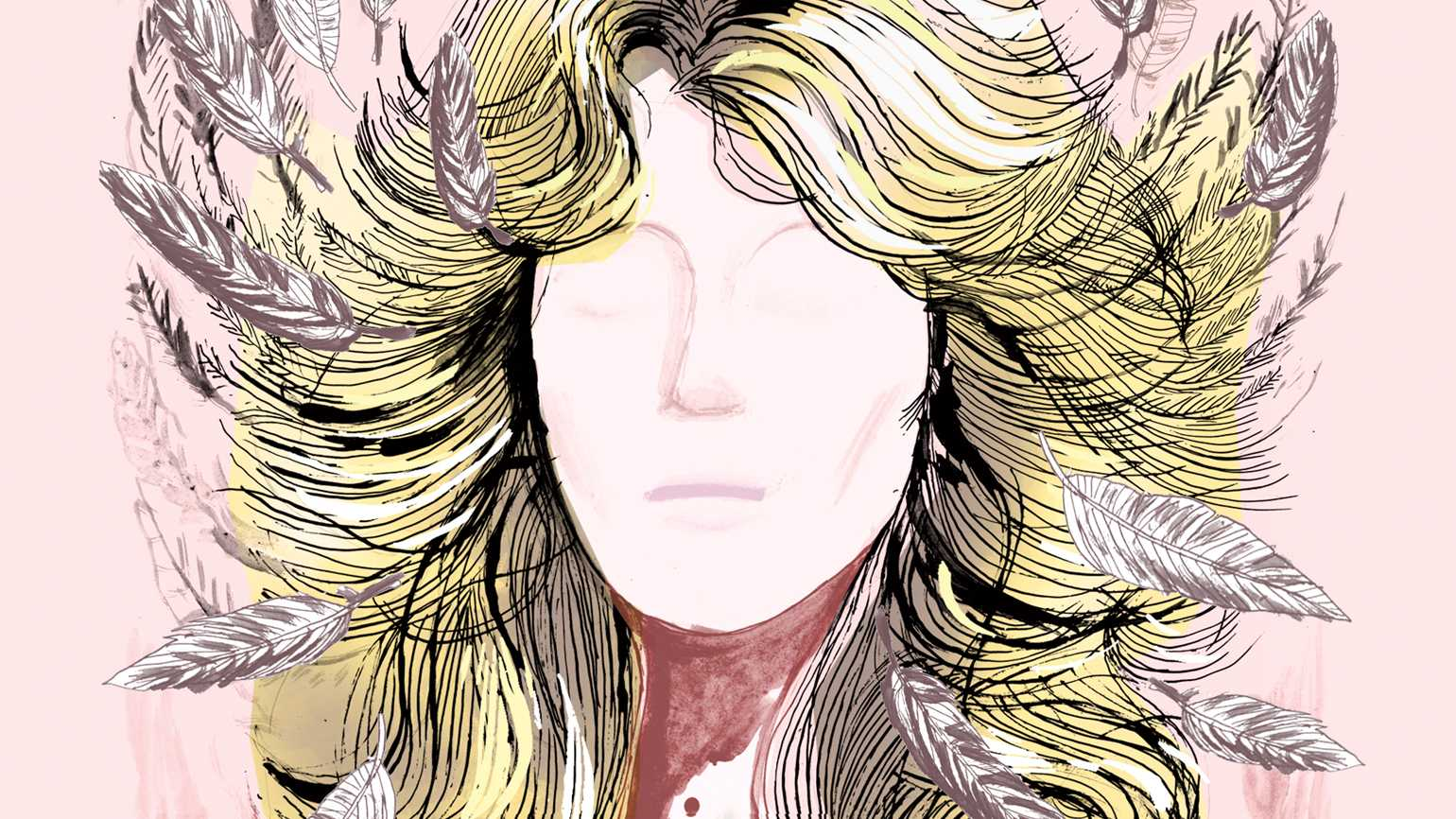 An artist's rendering of Farrah Faucett hair with angel wings scattered in.