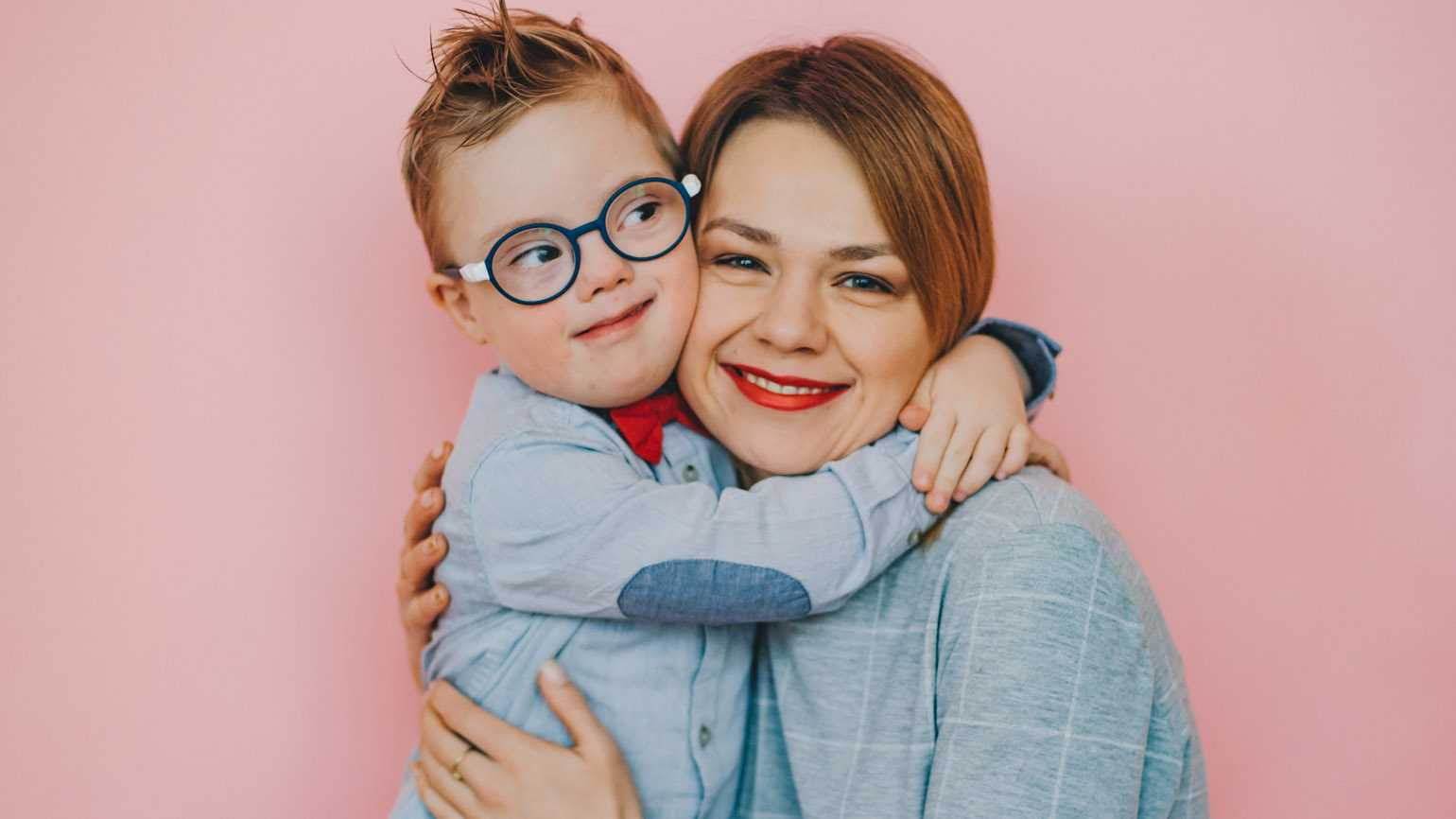 A mother and her son who has Down syndrome.