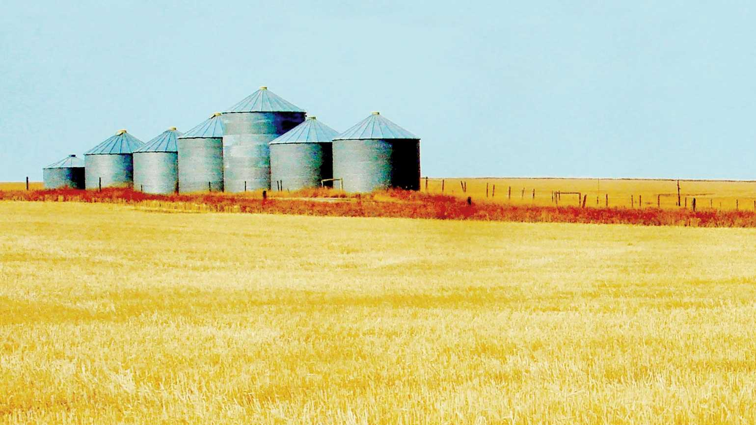 An artist's rendering of a group of silos