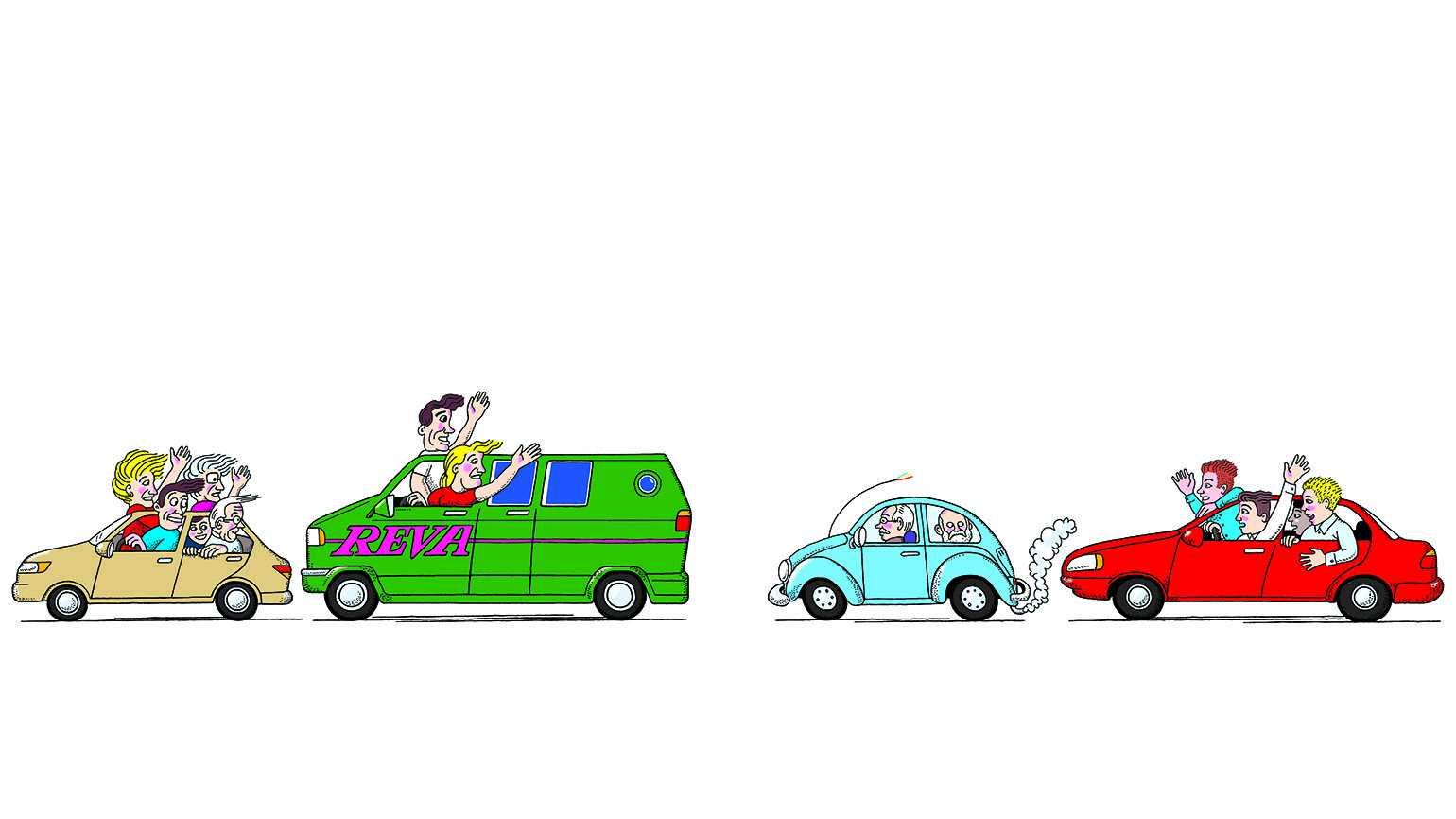Illustration of four colorful cars