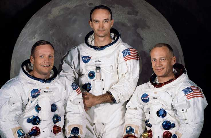 "The Apollo 11 crew (l to r): Neil Armstrong, Michael Collins and Edwin ""Buzz"" Aldrin"