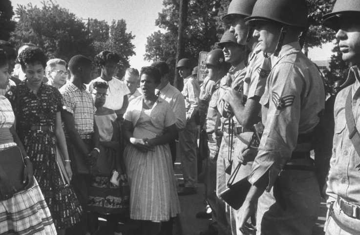 Little Rock Nine entering Central High School
