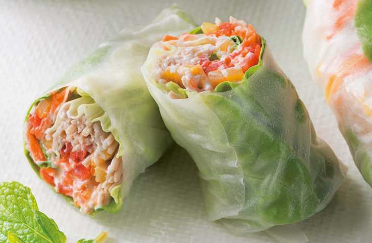 Vegetable Rolls with Chile Yogurt Sauce