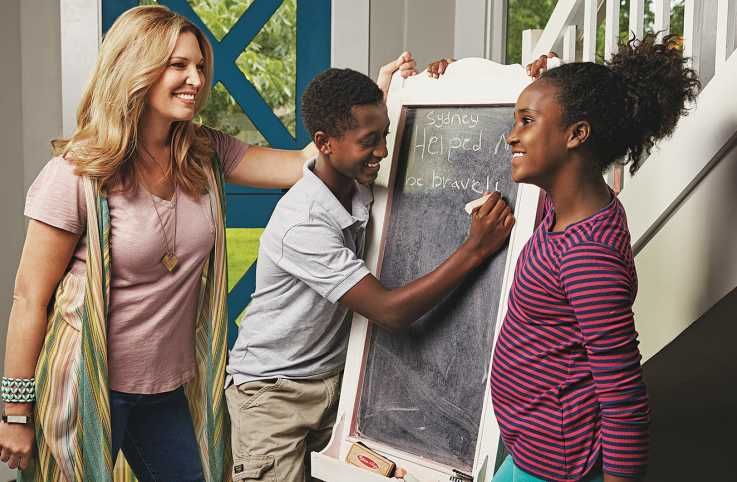 Jen, with her kids Ben and Remy, notes when family members do something nice for each other