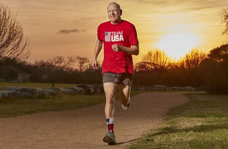 Former Olympic pentathlete Tom Lough on an early-morning run
