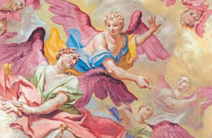 An illustration depicting cherubs in the sky.