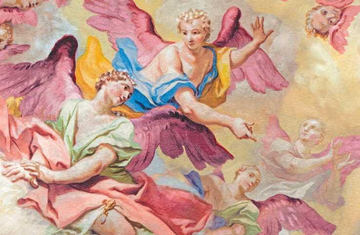 Sharif Tarabay's illustration depicting cherubs in the sky.