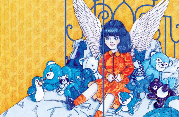 An angel doll on a bed with other stuffed animals.