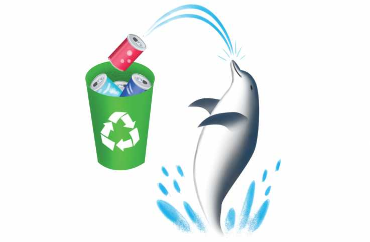 An illustration of a dolphin helping out in recycling cans.