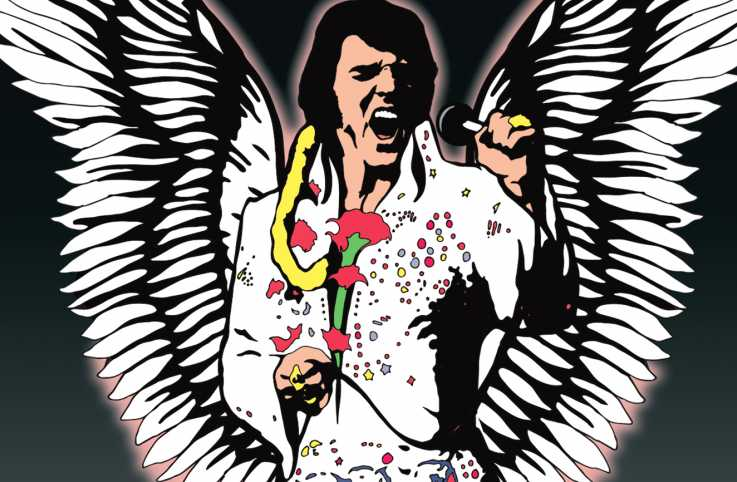 Illustration depicting Elvis Presley with large angel wings as he performs,