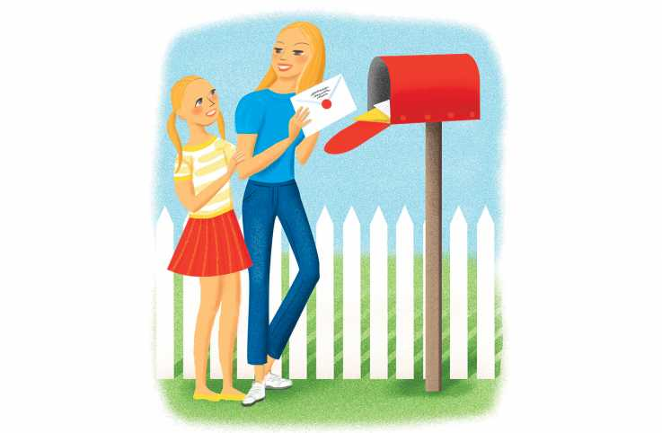 An artist's rendering of two family members taking out mail from their mailbox.