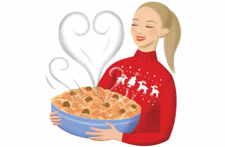An illustration of a woman in a holiday sweater holding her a large dish of spaghetti and meatballs.
