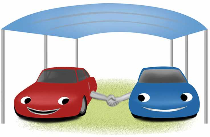 An illustration of two cartoon cars smiling next to each other.