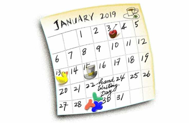 A January 2019 calendar with various events.
