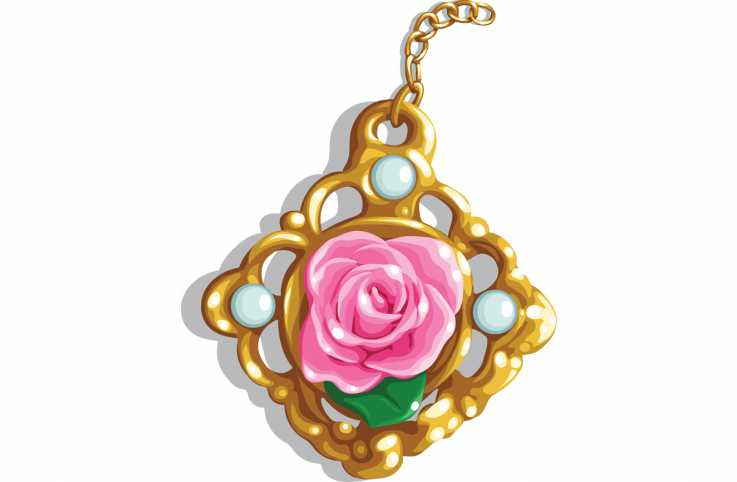 An artist's rendering of a rose pendant.