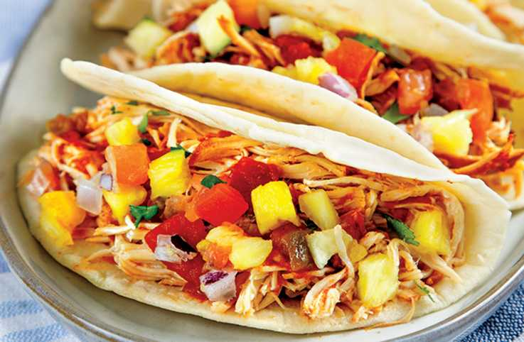 Slow Cooker Cilantro-Lime Chicken Tacos with Pineapple Salsa
