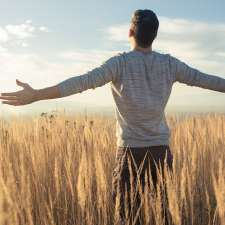 A man stands in a wheat field, arms outstretched, soaking up the sun's warmth