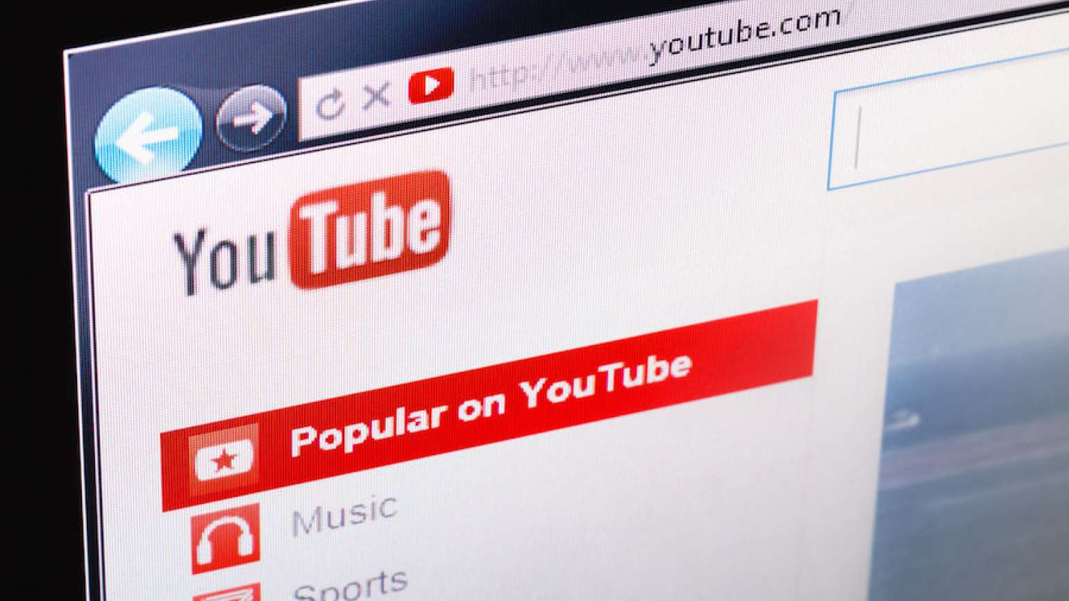 Photo of a YouTube screen. Image from 123RF(r).