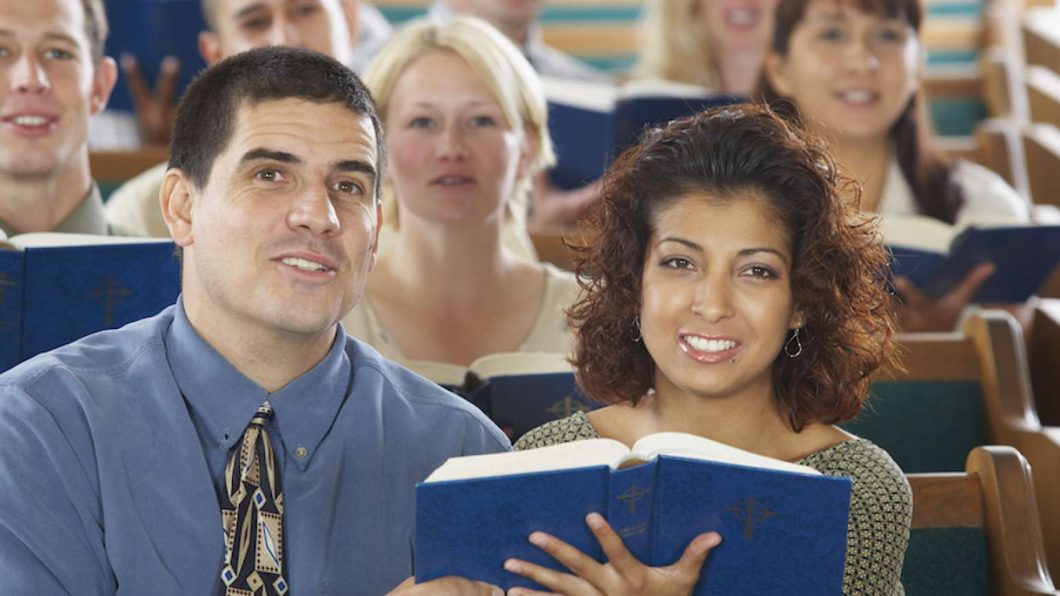 Guideposts: Singing at a church service.