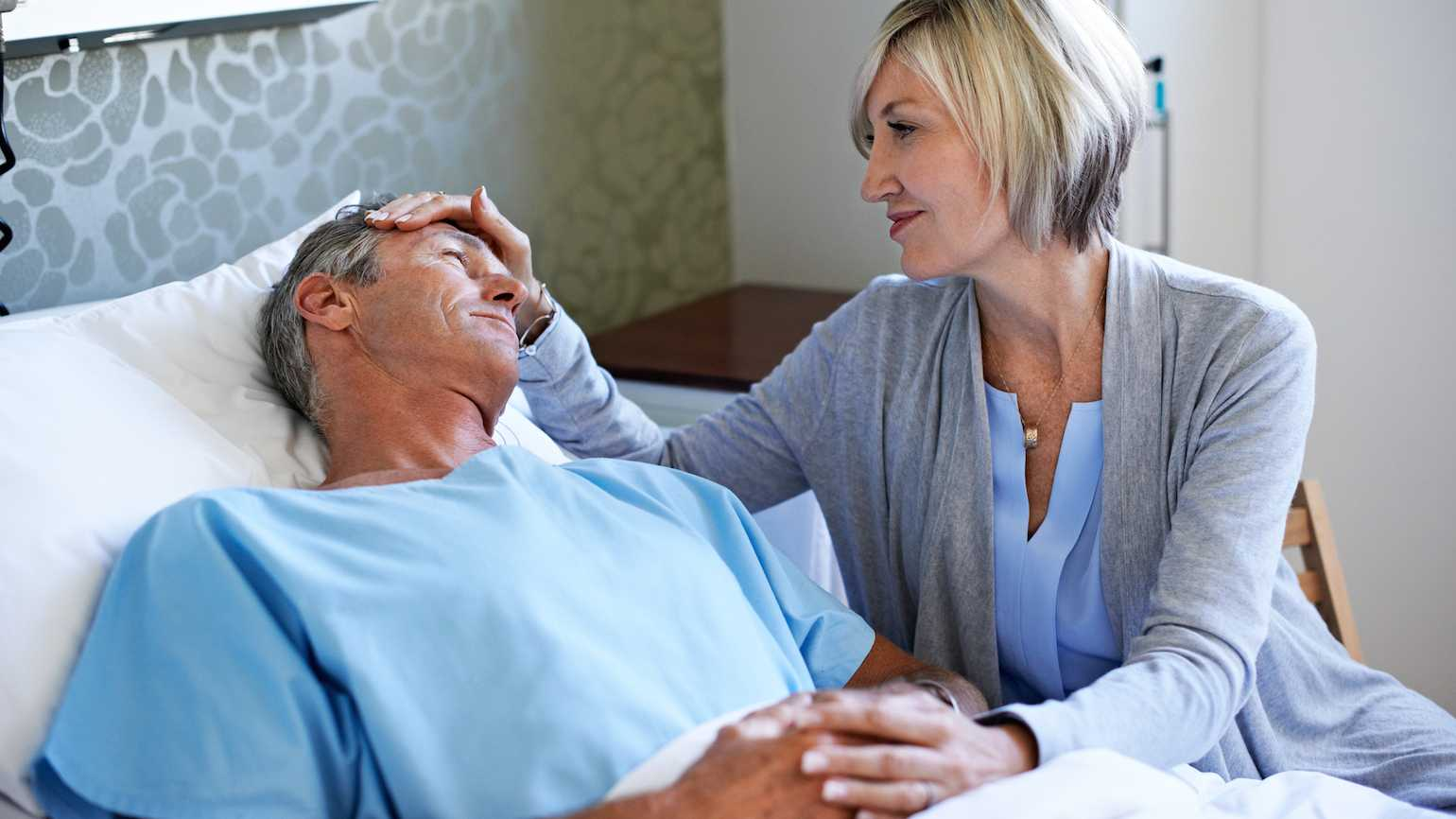Comforting a loved one in the hospital