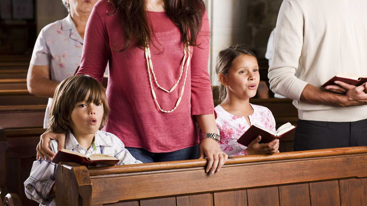 Children singing in church.