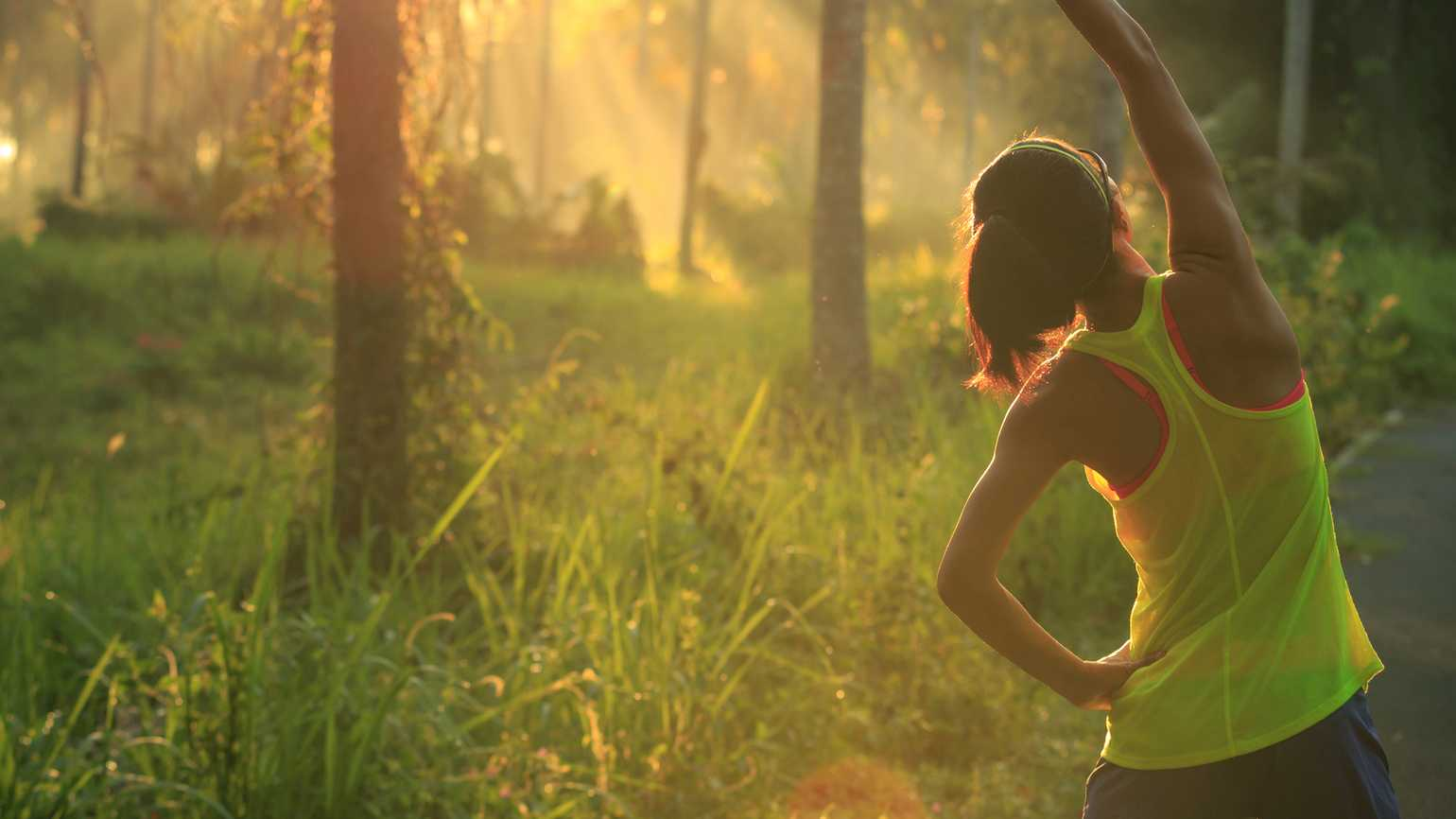 oung female runner warming up before running at morning forest trail