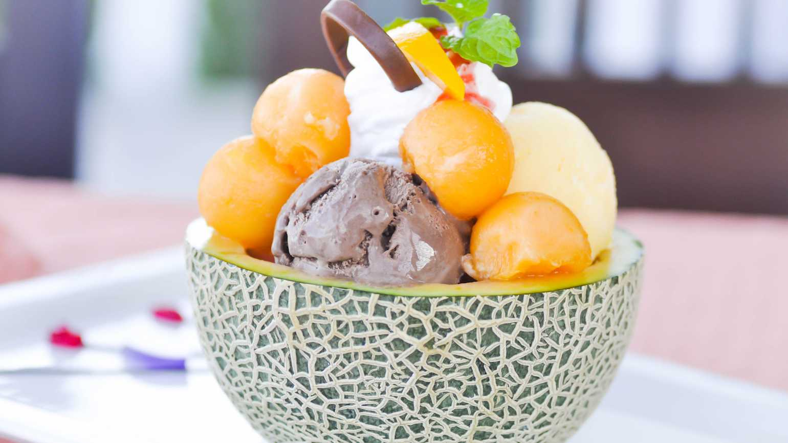 Ice cream in a cantaloupe