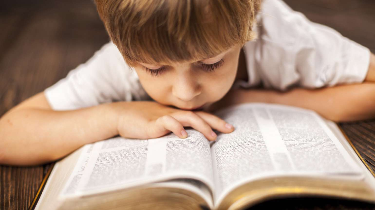 little boy reading the Bible
