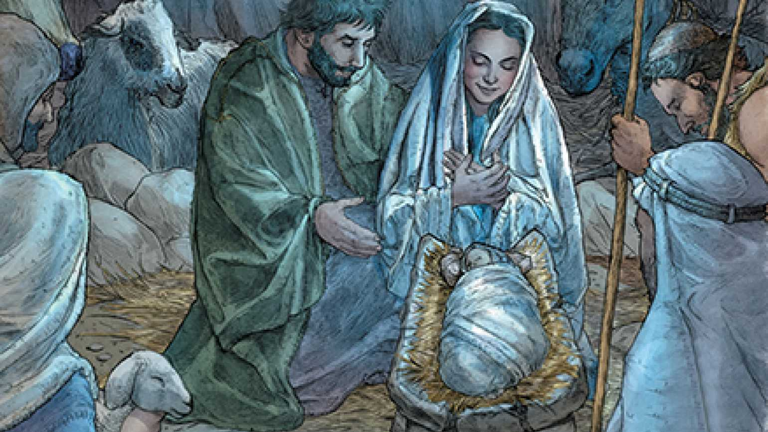 An illustration from Billy Tucci's book, showing Mary and Joseph in the stable