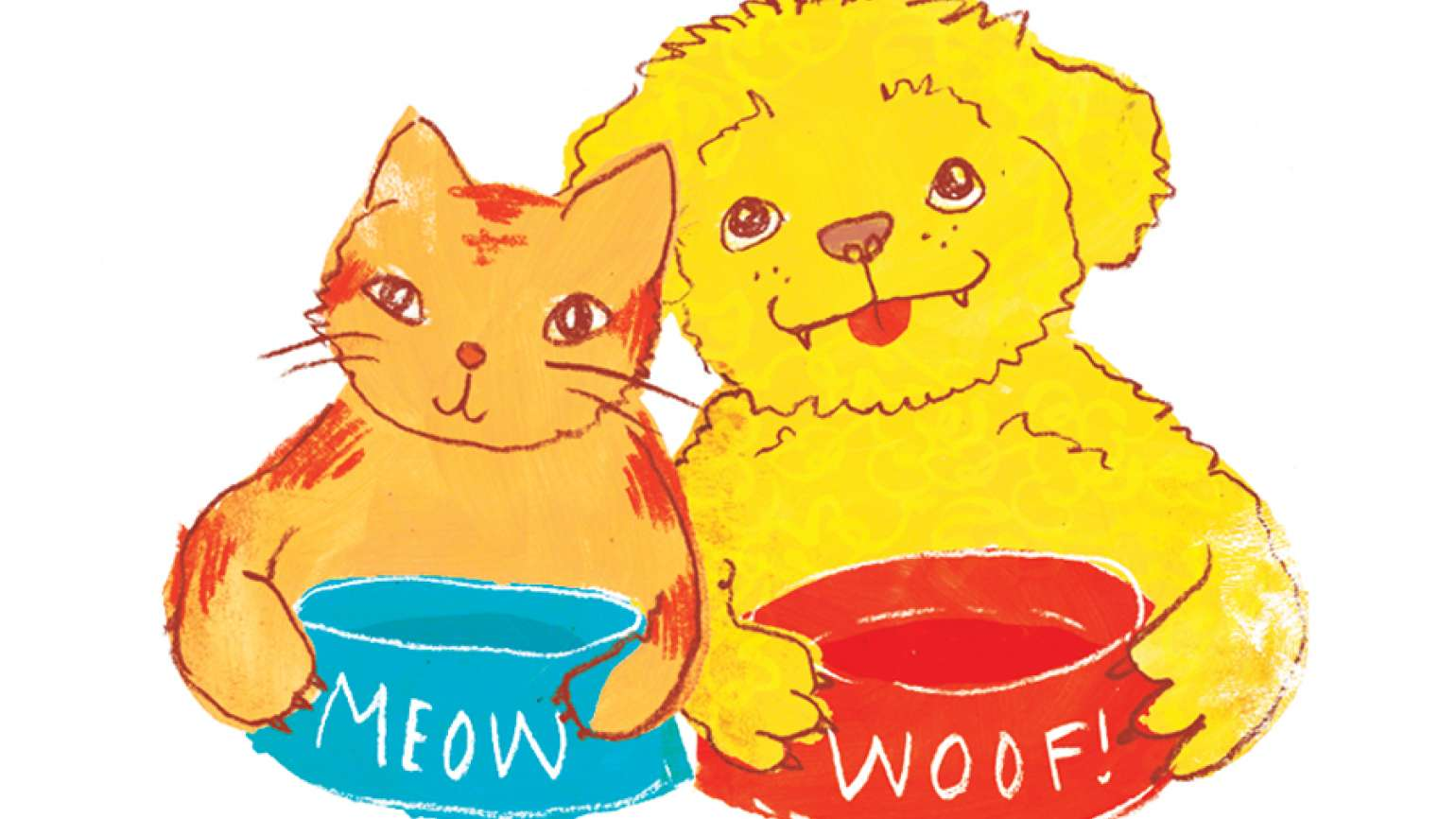 An artist's rendering of a dog and cat with empty food bowls.