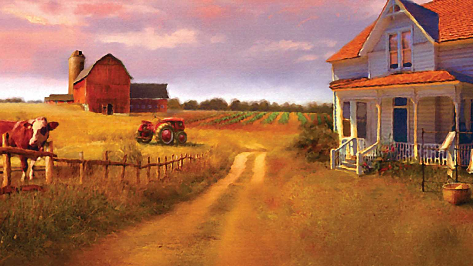A peaceful farm scene on the cover of Before the Dawn