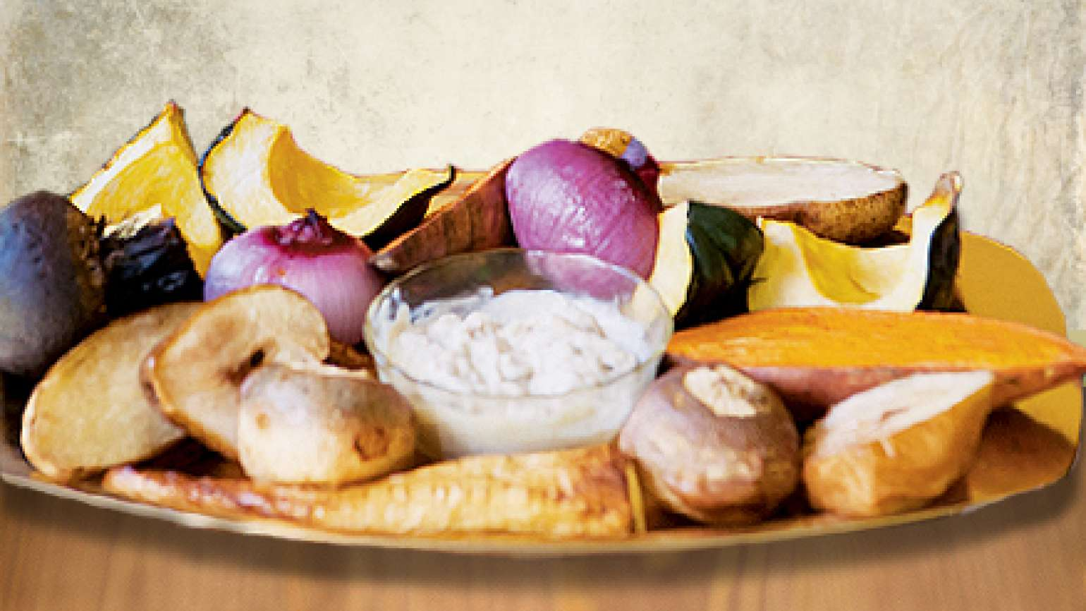 Roasted Vegetables with Garlic Sauce