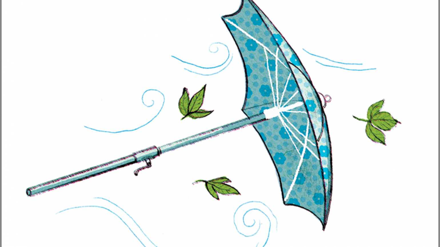 An artist's rendering of a wind-tossed patio umbrella