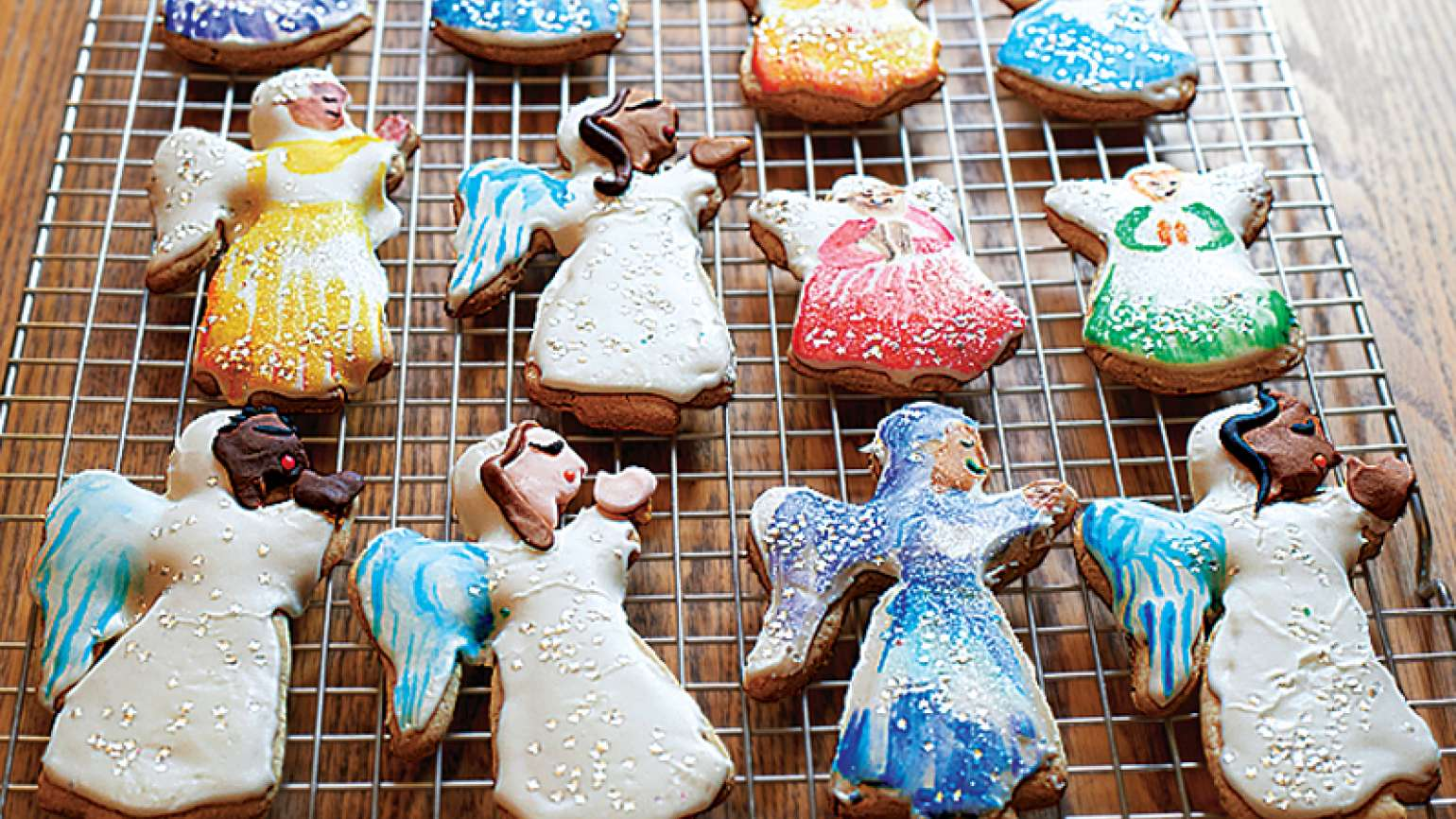 A rack of Michelle's Christmas Cut-Out Cookies, just out of the oven